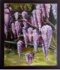 """""""Glycine"""" peinture acrylique sur bois 47,5 x 55,5"""