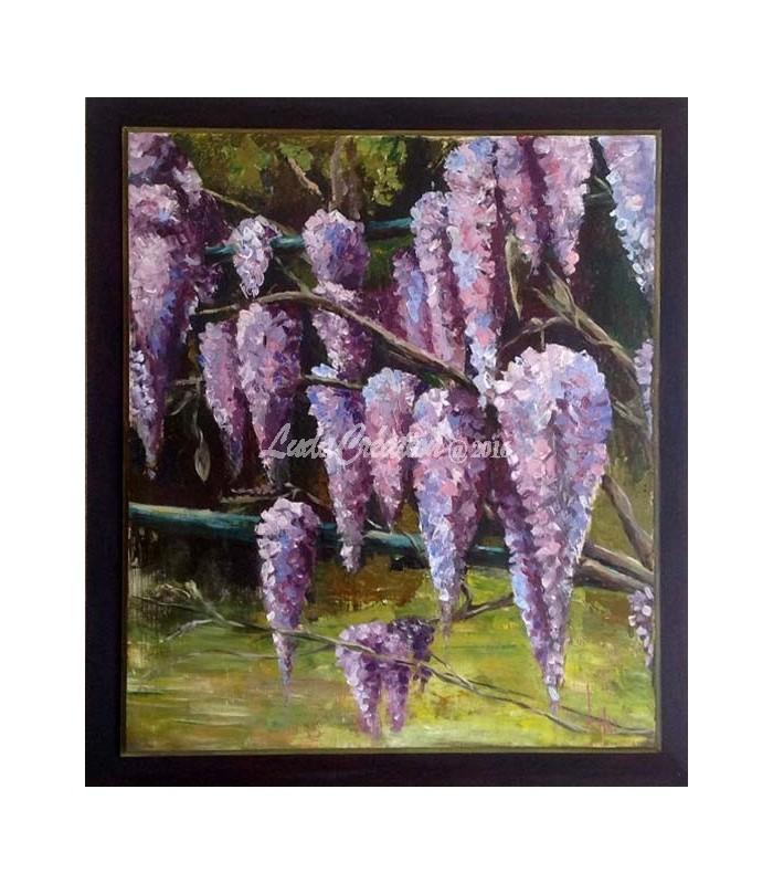 Glycine peinture acrylique sur bois 47 5 x 55 5 ludacr ation - Peinture acrylique sur bois ...