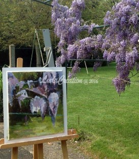 """""""Glycine """" peinture acrylique sur le bois 47,5x55,5"""
