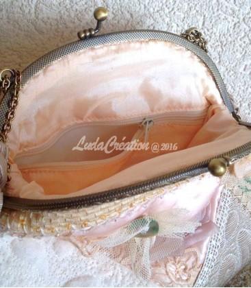 Petit sac avec fermoir pour la soirée style shabby- chic
