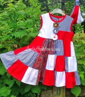 Robe d'été patchwork pour une petite fille 3 ans