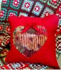 Coussin décoratif motif Coeur fleuri patchwork fait main