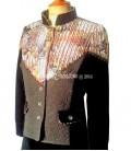 Veste tailleur femme bohème en velours côtelé, laine et coton