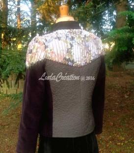 Veste de tailleur originale style bohéme en velours côteté, laine et coton