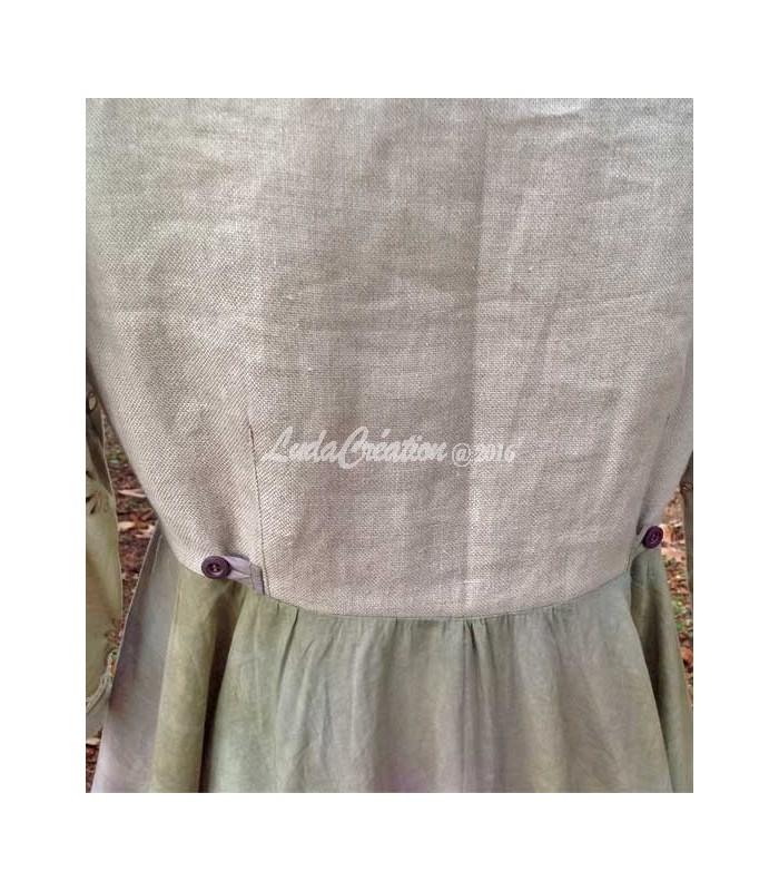Robe longue romantique style boh me vert lilas d cor e par des fleurs fait ma - Style boheme romantique ...