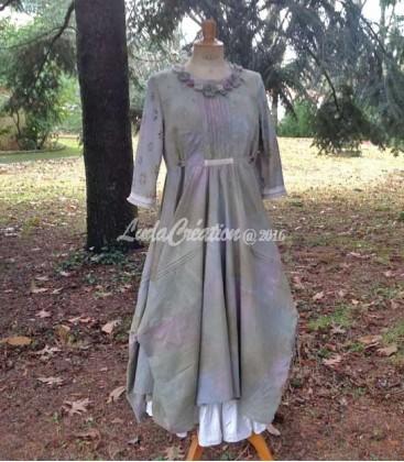 robe longue romantique style boh me vert lilas d cor e par. Black Bedroom Furniture Sets. Home Design Ideas