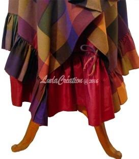 Jupe longue hiver esprit bohéme à carreaux lumineux jaune rouge violet marron avec jupon amovible