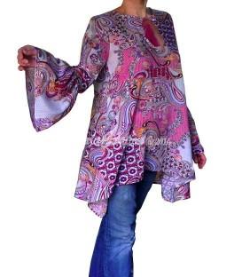 Tunique ample manche longue bohémien en viscose imprime paisley rose lilas blancVF14