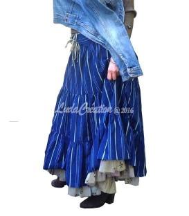 Jupe longue gipsy à volants en coton 100% à rayures bleu olive