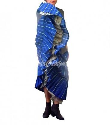 Jupe longue gipsy flamenco à volants en coton 100% à rayures bleu olive