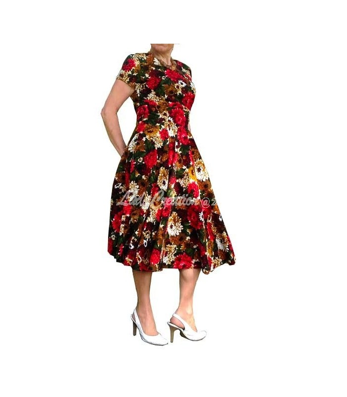 Robe d été mi longue esprit 50 s cloche manches courtes en coton naturel  imprimé floral 62ce7ef6550a