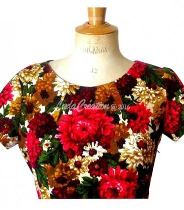 Robe d'été mi longue esprit 50's cloche manches courtes en coton naturel imprimé floral