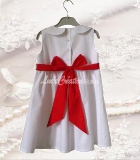 Robe Fillette Cérémonie Blanc et Rouge en coton naturel