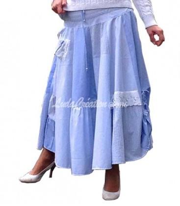 Jupe d'été Longue esprit Shabby bleu clair en cotons naturels et dentelle Richelieu