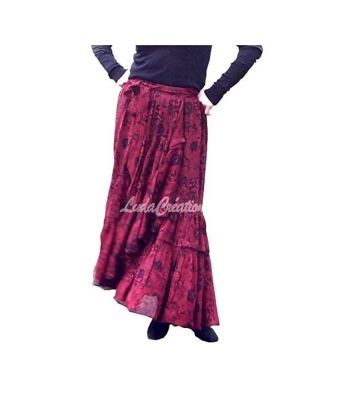 jupe longue crois e volants rouge noir esprit gipsy en cr pe viscose. Black Bedroom Furniture Sets. Home Design Ideas