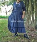 Robe longue bohémien esprit campagne en lin et viscose petit carreau bleu foncé