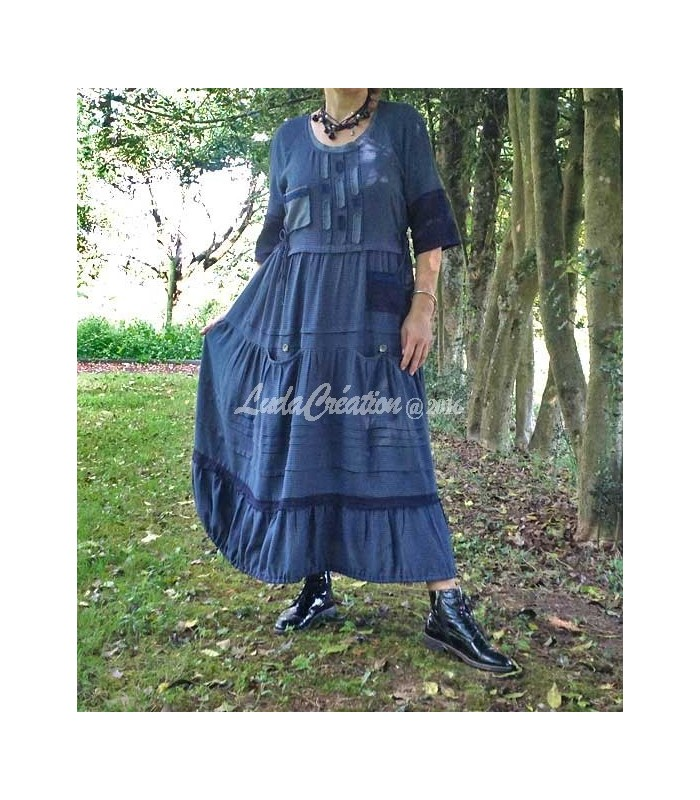 5b6cf31f7eb Robe longue bohémien esprit campagne en lin et viscose petit carreau bleu  foncé