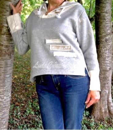 Sweat Chirt femme en jersey coton grise écru