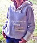 Sweat shirt femme en jersey coton grise écru