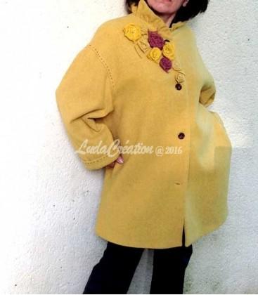 Manteau Femme , élégant couleur moutarde modèle unique