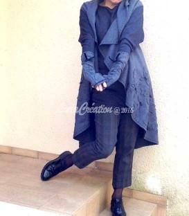 Gilet long sans manche femme chic et universel en laine bouillie grise foncé taille unique