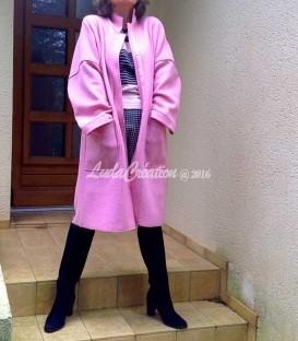 Manteau Rose Printemps sans doublure en laine bouillie