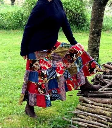 Jupe longue à volants style bohéme patchwork en coton couleur ble - rouge-jaune