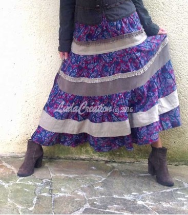 Jupe longue à volants en laine imprimée paisley et tweed de lin