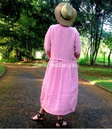 Robe Longue en lin couleur flamant rose