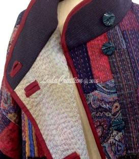 Veste femme inspiration Japonaise Patchwork Boro oversize