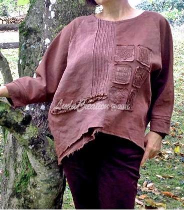 Tunique Oversize Textures de Chocolat en lin et coton vintages fait main