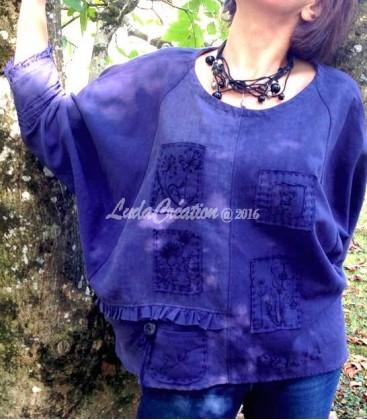 Tunique Oversize en Lin épais ancien bleu marine brodée motifs plantes végétales