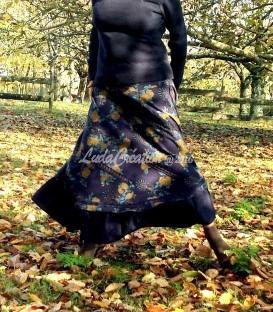 Jupe longue cloche en coton épais imprime fleuris rose bleu foncée marron Réserve Cécile