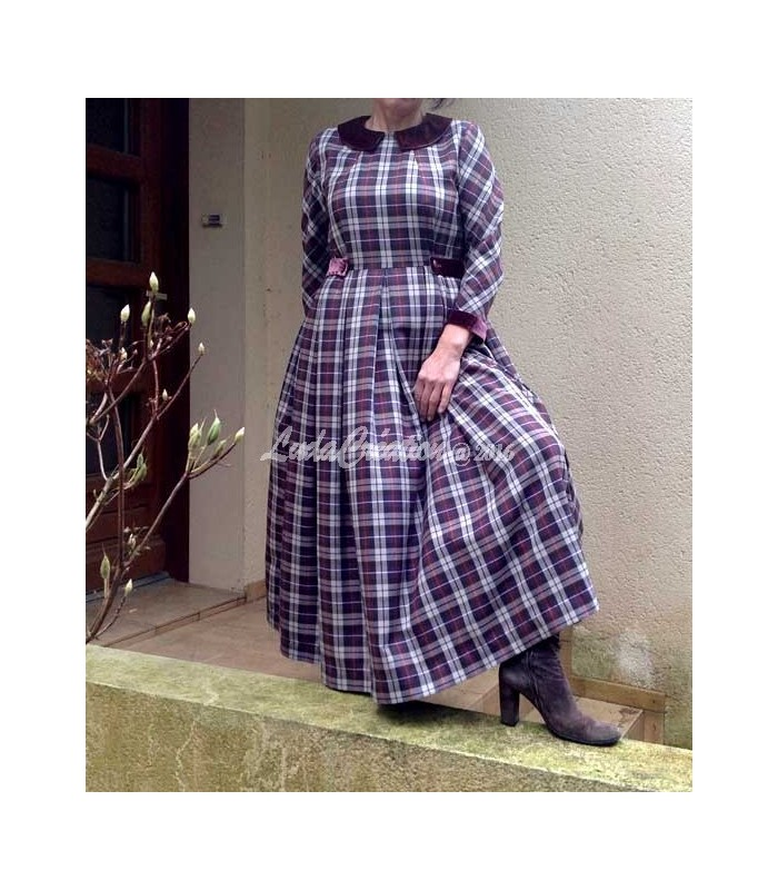 228f6409291 Robe Longue à Carreaux en mélange de laine