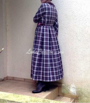 Robe Longue à Carreaux en mélange de laine