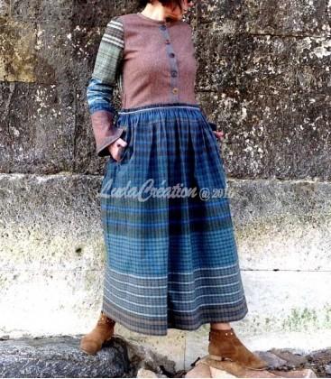 Robe longue INGRIDE en laine et coton naturels