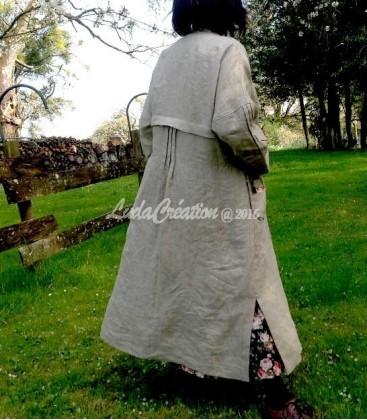 Manteau d'été Amélie en lin naturel esprit Bohème Oversize
