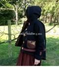 Veste femme décontractée Charline Boho en coton noir roux