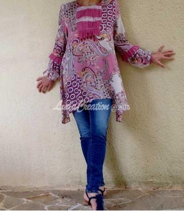 Tunique ample manche longue bohémienne en viscose imprimé paisley rose lilas blanc